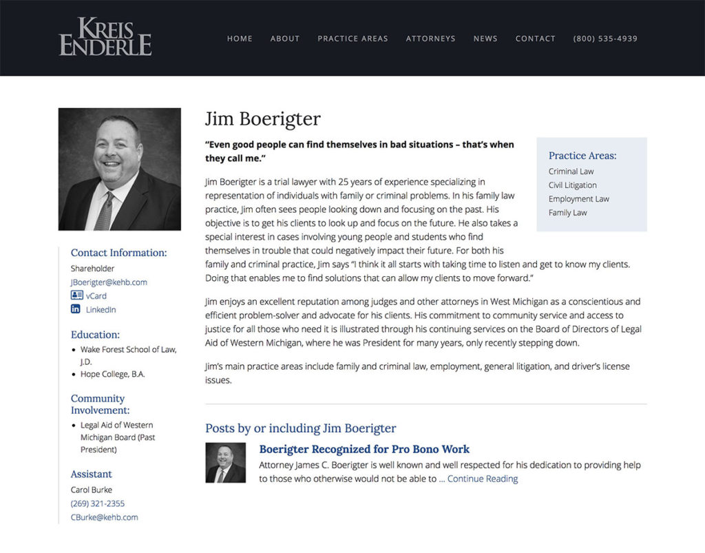 Attorney profile website page design