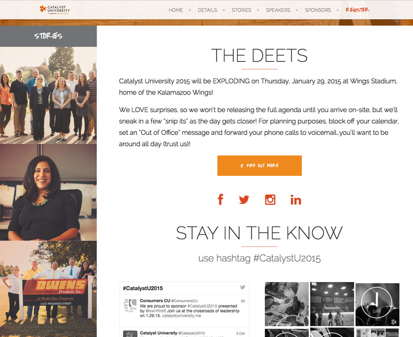 Catalyst University home page design