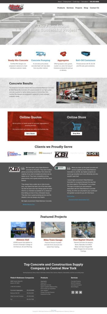 Concrete Company Website Design