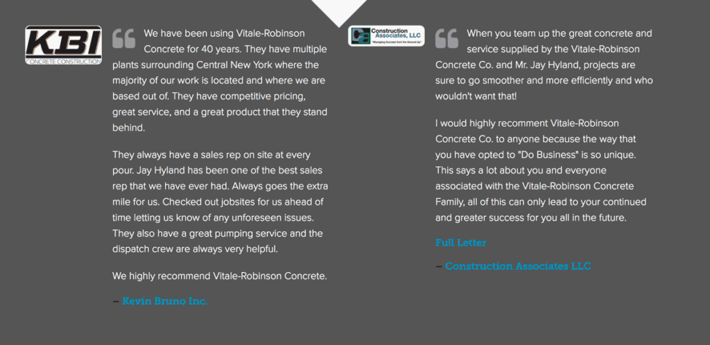 Concrete supplier website testimonial