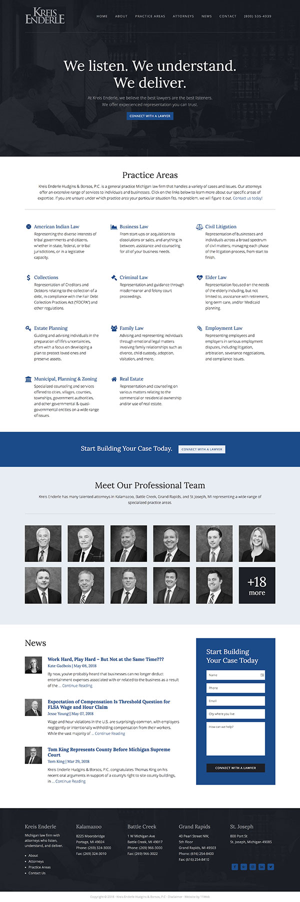 Law firm website design example - Kreis Enderle in Michigan - by 11Web