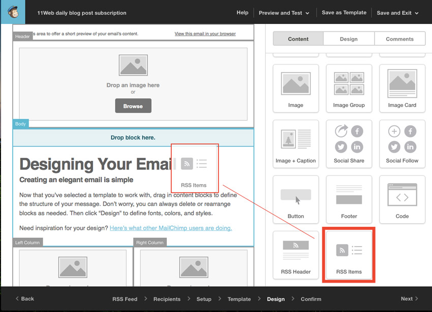 Add MailChimp RSS Item Block