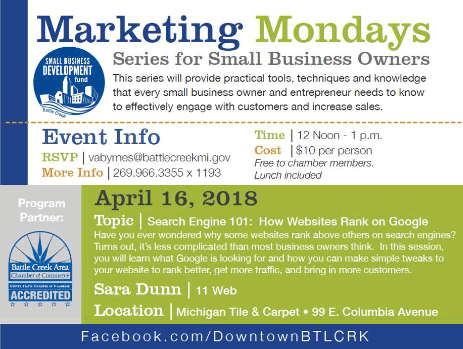 Battle Creek MI Marketing Mondays - Search Engine 101