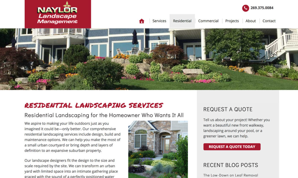 Naylor Landscape website example