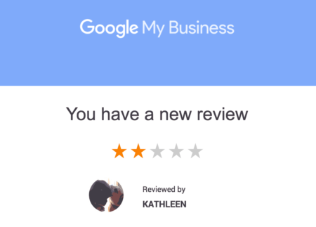 Negative review alert email from Google