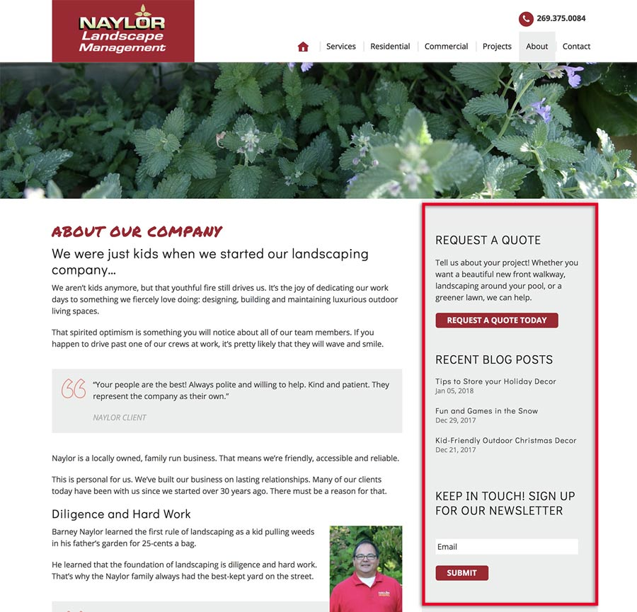 A website design with the sidebar highlighted