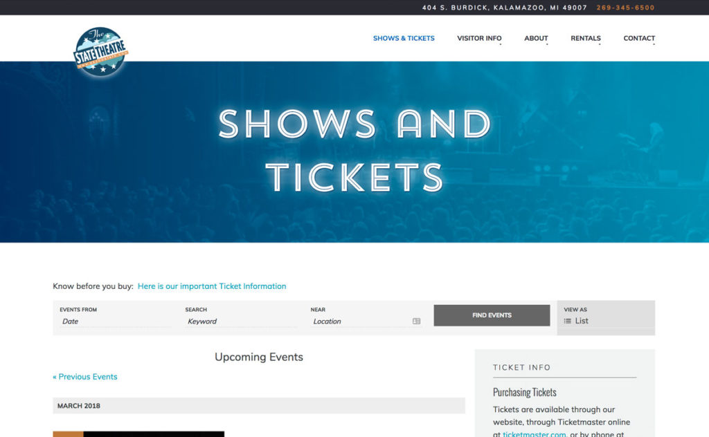 Kalamazoo State Theatre website design